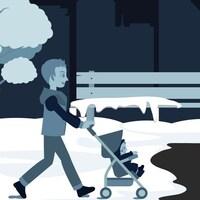 À droite, un homme promène son enfant dans la neige, alors qu'à droite, une femme se promène sous la pluie.