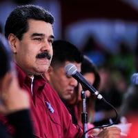 Le président vénézuélien Nicolas Maduro lors d'une rencontre avec les jeunes du Parti socialiste unifié du Venezuela (PSUV) à Caracas le 11 septembre 2018.