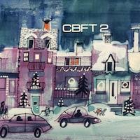 Dessin en couleur d'une rue avec des maisons décorées pour Noël, des voitures qui circulent et des enfants qui y jouent.