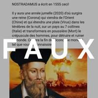 Une publication sur la prédiction de Nostradamus, avec sa photo, et le mot FAUX sur l'image.