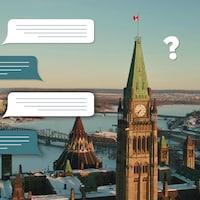Vue aérienne du parlement canadien et de la rivière des Outaouais enneigée avec des illustration de commentaires