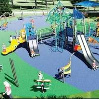 Un rendu du terrain de jeu inclusif qui sera construit, en image de synthèse.