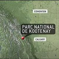 Carte géographique montrant l'emplacement du parc national Kootenay.