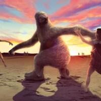 Représentation artistique d'un groupe d'humains chassant un paresseux géant.