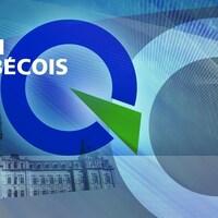 Le logo du Parti québécois avec, en arrière-plan, l'Assemblée nationale et la fleur de lys.