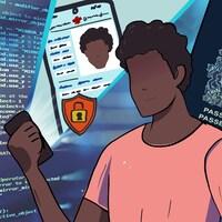 Un Canadien remplit sa demande de passeport sur son cellulaire.
