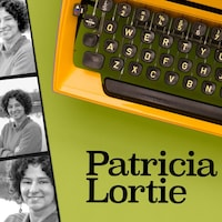 Des photos de l'artiste visuelle Patricia Lortie, de style photomaton, tout près d'une machine à écrire.