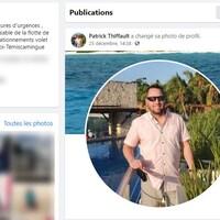 Capture d'écran du profil Facebook de Patrick Thiffault avec une photo de profil où on le voit dans une station balnéaire.