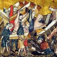 Une illustration représentant une enterrement de victimes de la peste en Belgique.