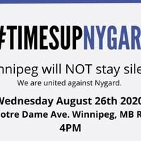 Affiche de l'annonce du rassemblement avec le mot-clic #TimesUpNygard.