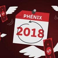 Une image qui représente un calendrier avec la date de 2018 et des billets de dollars qui s'envolent.