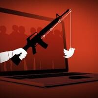 Un fusil sert de canne à pêche, avec le logo de Twitter comme appât.