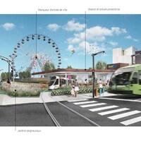 Esquisse de pôle de mobilité durable illustrant un secteur où circulent, piétons autobus, voitures et cyclistes, avec une grande roue en arrière-plan