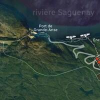 Un plan aérien permet de voir où prendrait place le projet de GNL Québec.