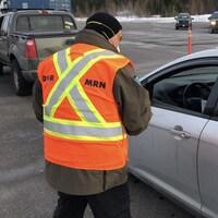 Point de contrôle à Edmundston à la frontière entre le Nouveau-Brunswick et le Québec
