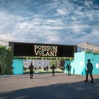 Un plan en 3D montre des murs et une arche où on peut lire Poisson Volant.