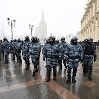 La police antiémeute à Moscou.
