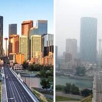 Le centre-ville de Calgary lors d'une journée claire la semaine dernière à gauche et sous une couverture de fumée lundi, à droite.