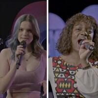Montage de photographies des quatre artistes de Polyfonik 2021 en spectacle devant un micro : Amélie Préville, Priscila Bieni, Émilie Ringuette et IsaCliche.