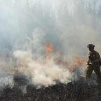 Un pompier se déplace à côté de fumée et de flammes provenant d'un feu de forêt.