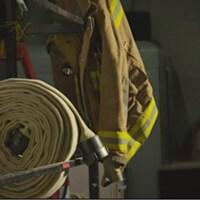 Boyau d'incendie dans une caserne de pompiers.