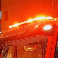 Les lumières d'un camion de pompiers.