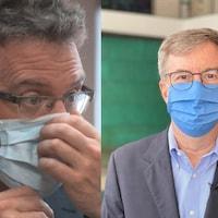 Montage photo de Maxime Pedneaud-Jobin et de Jim Watson portant tous les deux un masque.