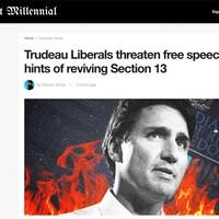 L'article est intitulé « Les libéraux de Trudeau menacent la liberté d'expression en voulant faire renaître la Section 13 ». L'image montre Justin Trudeau devant la Charte des droits et libertés en flammes.