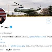 Capture d'écran du compte Twitter du président des États-Unis @POTUS.