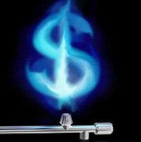 Un signe de dollar sortant d'un tuyau de gaz naturel.