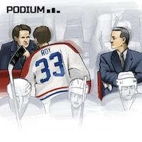 La scène qui a marqué une génération d'amateurs de hockey : Patrick Roy qui s'adresse à Ronald Corey sous le regard de Mario Tremblay.