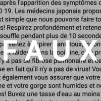 Un texte avec des présumés conseils sur le coronavirus, avec le mot FAUX sur le texte.