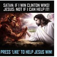 La publication affirme que Satan aimerait que Hillary Clinton remporte l'élection présidentielle, alors que Jésus s'y oppose.