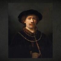 L'oeuvre « Autoportrait au chapeau et aux deux chaînes » de Rembrandt van Rijn.