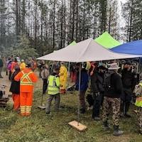 Des équipes de recherche et sauvetage et des bénévoles sur un terrain boisé par temps gris.