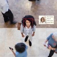 Une femme regarde une caméra qui scanne son visage et un logiciel lui colle plusieurs critères de reconnaissance.