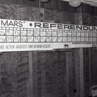 Un tableau affichant les résultats du référendum de 1986, à Rouyn-Noranda