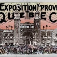 Un dessin montre l'Exposition provinciale de 1921 dans toute son effervescence. Il y a foule devant le palais central, décoré de fanions et de drapeaux. L'ambiance est visiblement à la fête.