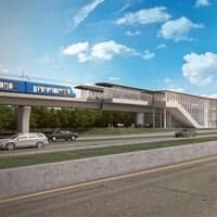 Un dessin des promoteurs représentant une station située le long d'une autoroute.