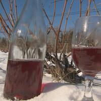 Des coupes et une bouteille de vin sont déposées dans la neige