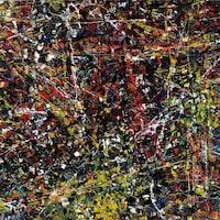 Un gros plan de la toile Vent du nord, de Jean Paul Riopelle, montrant des traits et des taches de couleurs variées.