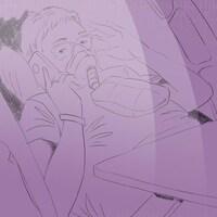 Une illustration de Rita Doiron dans son lit d'hôital ayant une conversation au téléphone.