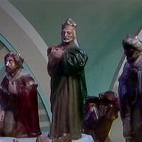 Figurines de crèche des trois rois mages.
