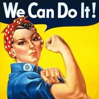 Poster représentant une jeune femme de profil en tenue bleue d'ouvrière, sur un fond jaune, retroussant sa manche pour montrer la force de son biceps.