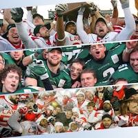 Montage avec trois photos montrant des joueurs de football en train de fêter leur victoire.