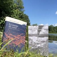Les livres sont debout dans l'herbe, sur le bord d'un plan d'eau.