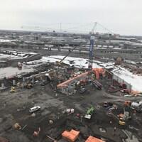 Vue en hauteur du chantier de construction du projet Royalmount.