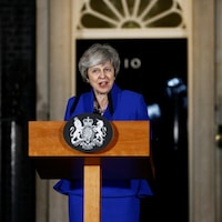 Theresa May lors d'une allocution devant le 10, Downing Street