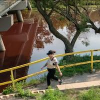 Une personne se promène aux abords du ruisseau qui découle du lac Wascana.