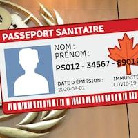Un dessin de passeport immunitaire fictif.